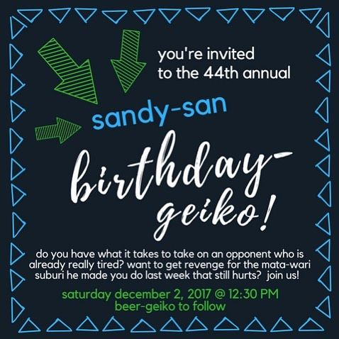 You're invited!! Join us for the 44th Annual Sandy-san Birthday-geiko! 🤺🎉🎁