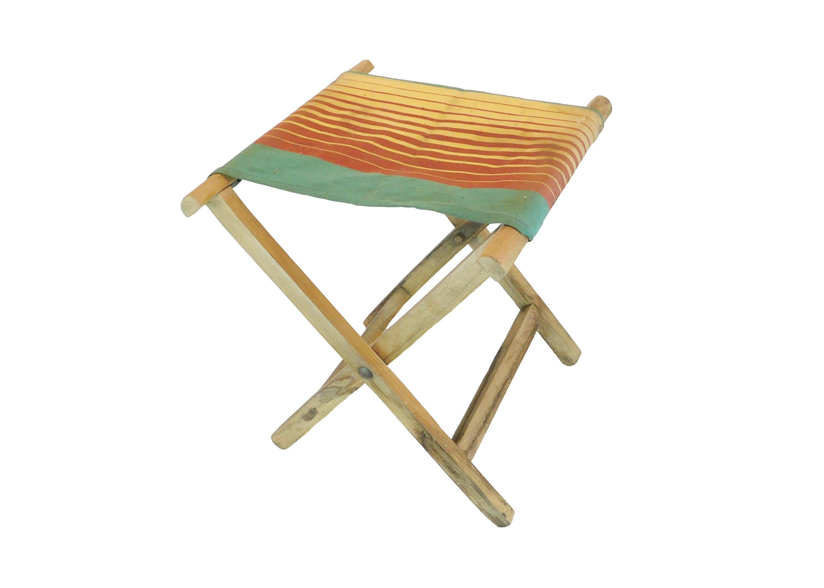 Fantastic Folding Wood Camp Stool With Striped Canvas Seat Camping Bralicious Painted Fabric Chair Ideas Braliciousco