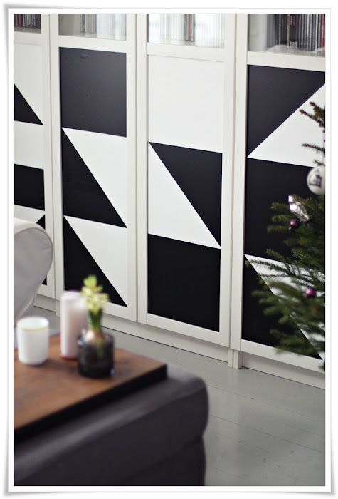 Geometric Contact Paper On Billy Bookcase Living Room