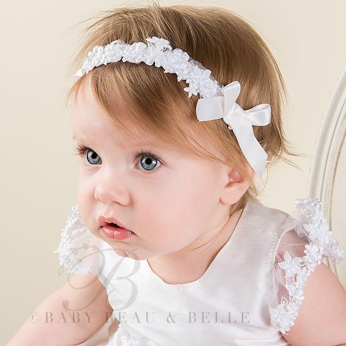 Christening Headband Baby Headband Infant Headband Baptism Baby Headband White Baby Headband Newborn Headband White Baptism Headband