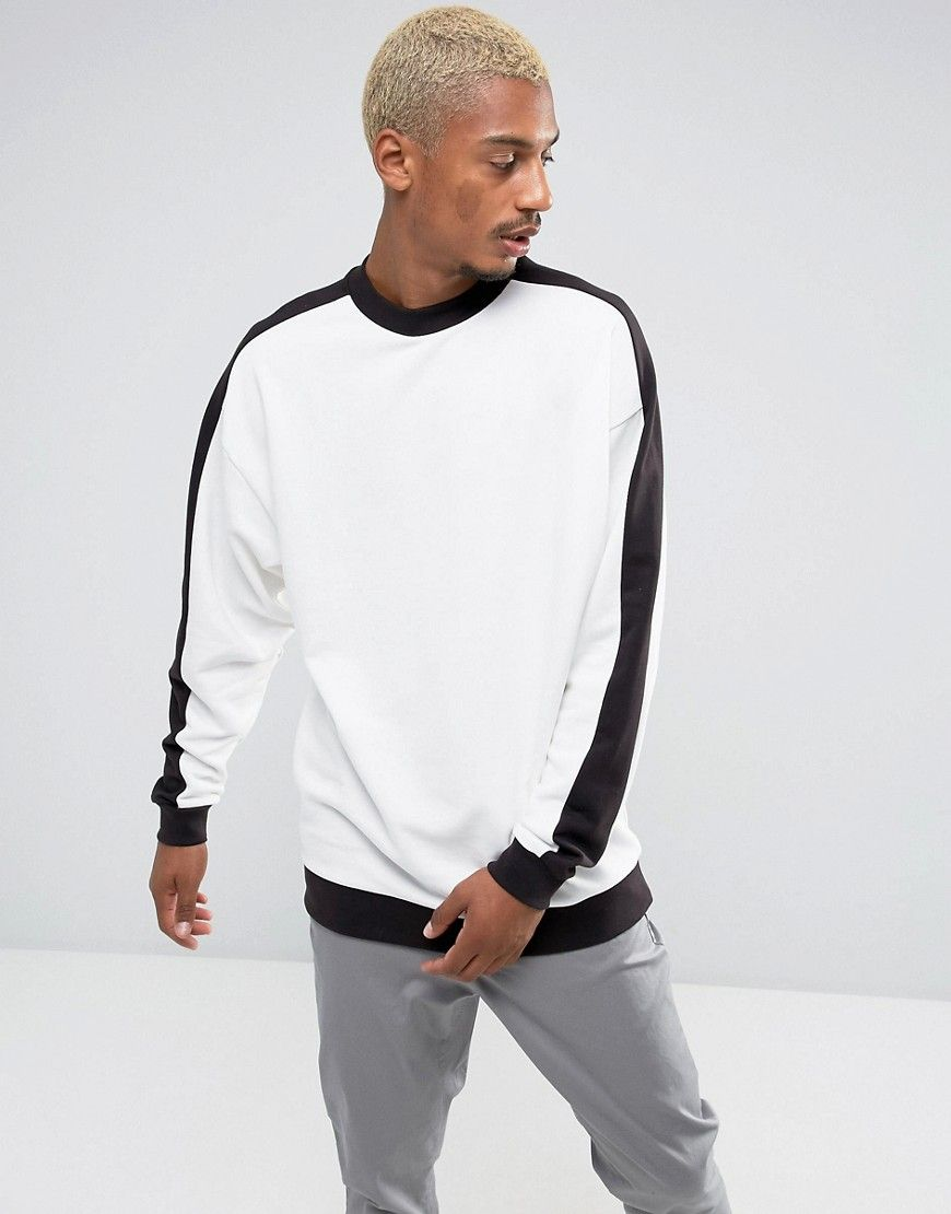 Asos Oversized Longline Sweatshirt With Ribbed Sleeve Panel White Streetwear Men Outfits Long Sleeve Tshirt Men Mens Sweatshirts Hoodie [ 1110 x 870 Pixel ]