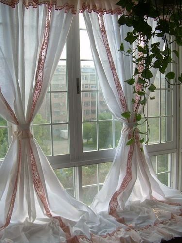 Victorian Style White With Croche Pink Peach Lace With Valance