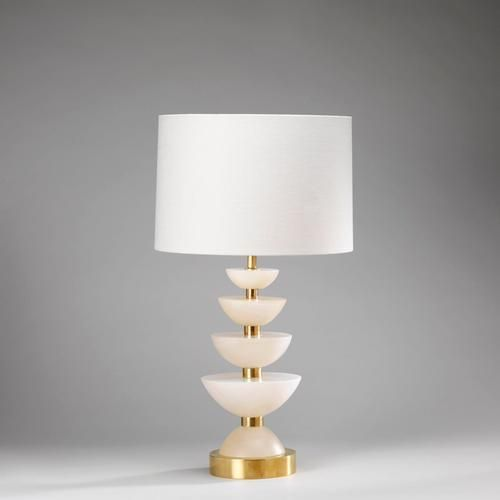 Vaughan designs positano table lamp alabaster and brass shown with warwick drum lily linen lampshade item code height in