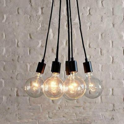 7 Light Edison Bulb Led Multi Light Pendant In Black For Dining Room Bulb Pendant Light Pendant Light Fixtures Modern Ceiling Lamps