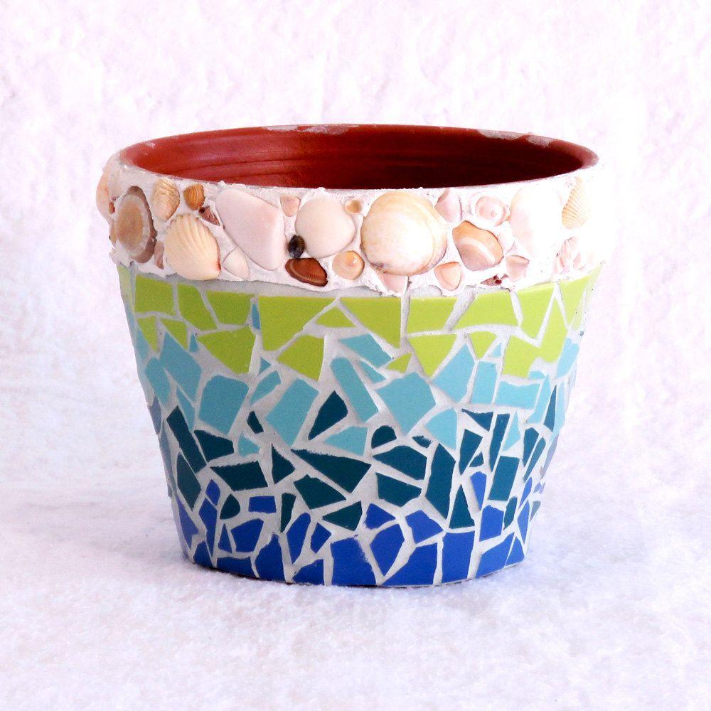 mosaic pot, small pot, pot for plants, terracotta garden pot