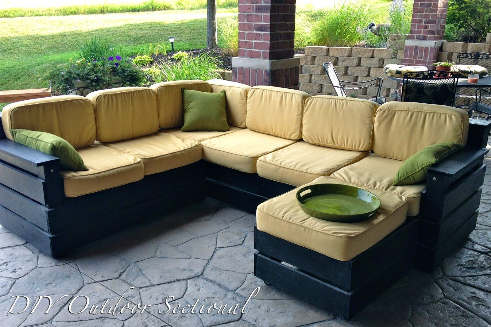 Pallet patio furniture cushions - Diy Outdoor Sectional Build It Yourself Out Of Regular Wood From A Home Improvement Store
