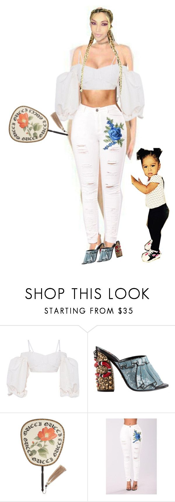 """""""With Lujosa! (woooh its hot today!)"""" by a-andm ❤ liked on Polyvore featuring Alessandra Rich and Gucci"""