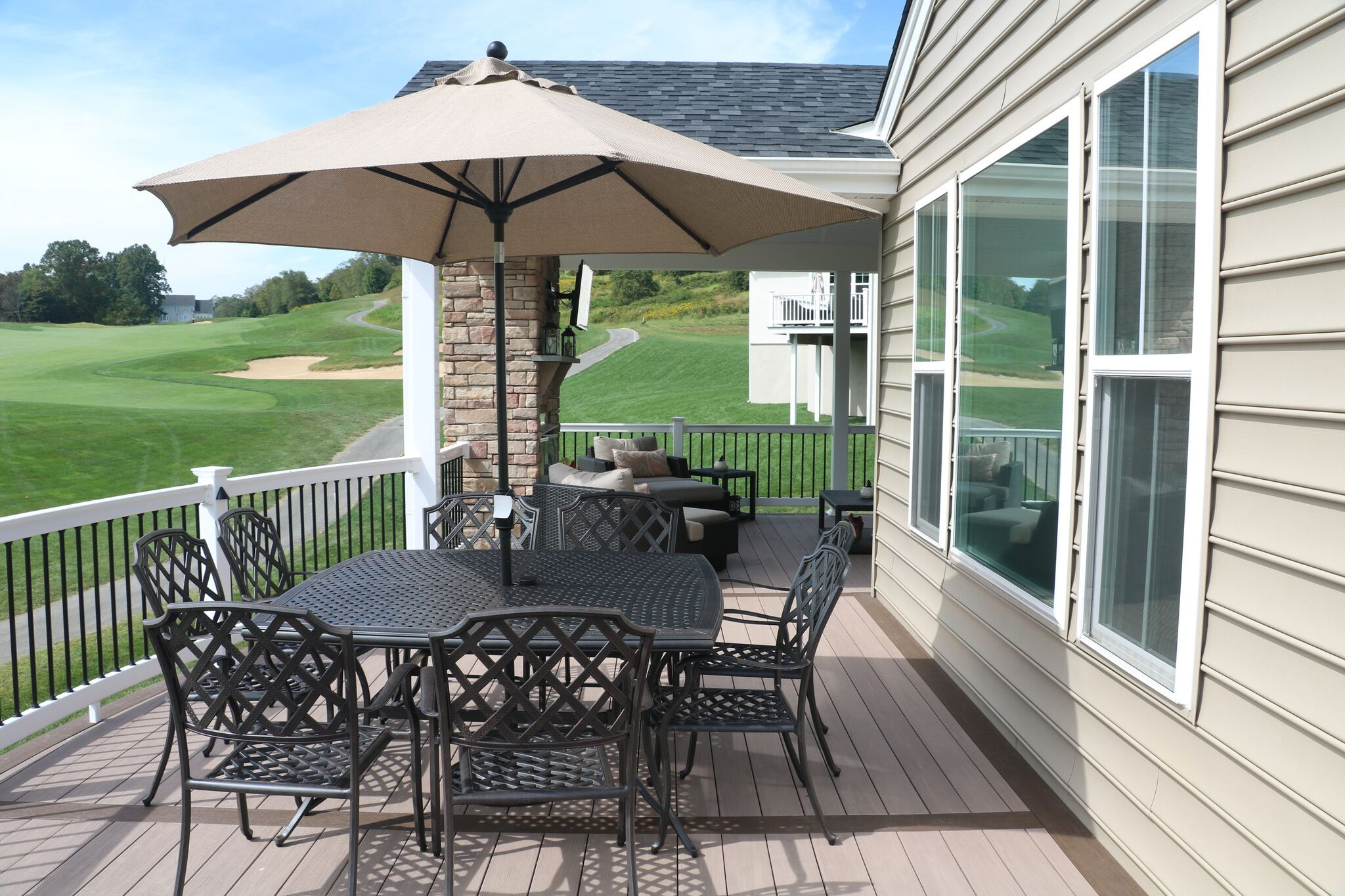 This deck has low voltage deck lighting its a cool way to add a we install deck lighting including side mount post step riser and post cap lights skip the added cost of an electrician with our low voltage lighting aloadofball Gallery