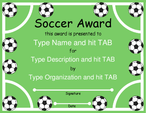Award Certificate Templates  Soccer    Kids Soccer
