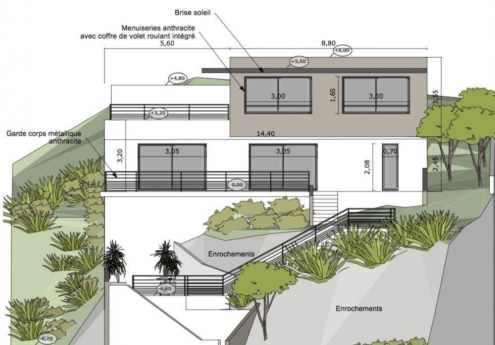 Plan Maison Contemporaine Sur Terrain En Pente Plan Maison Contemporaine Plan Maison Plan De Maison Cubique