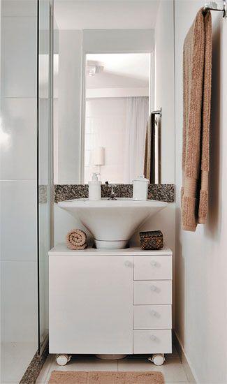 Banheiro pequeno Bancada Tok Stok  Coisas para usar  Pinterest  Soluções -> Armario De Banheiro Com Espelho Tok Stok