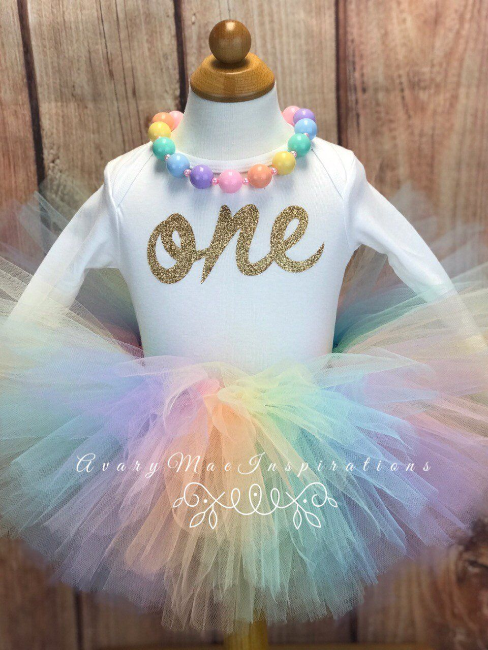 Girls 1st First Birthday Tutu Rainbow Unicorn Outfit Cake Smash Photoshoot One