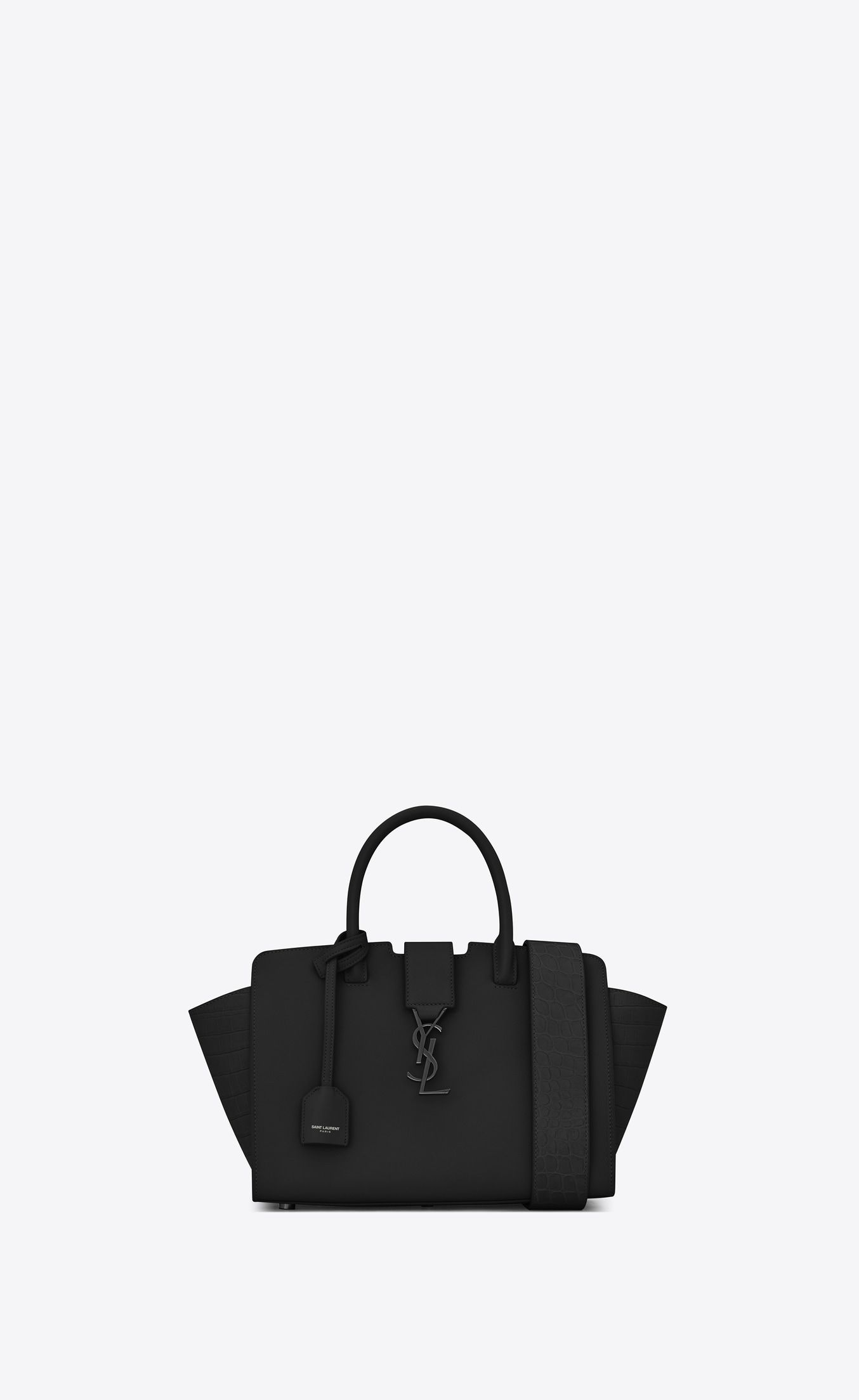 5cbfbcfa3 Saint Laurent Baby Downtown Cabas Ysl Bag In Black Leather And Crocodile  Embossed Leather | YSL.com