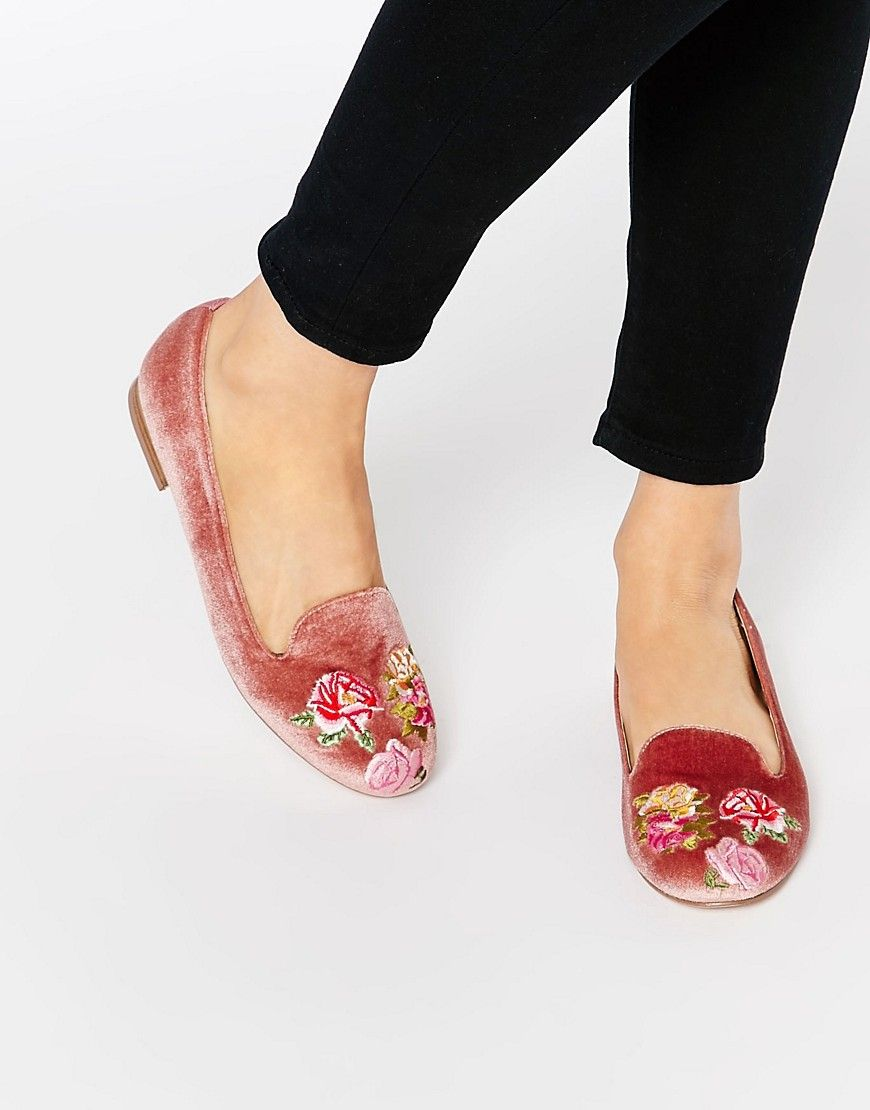 ad1ac8051f4 Image 1 of ASOS MYLO Embroidered Flat Shoes