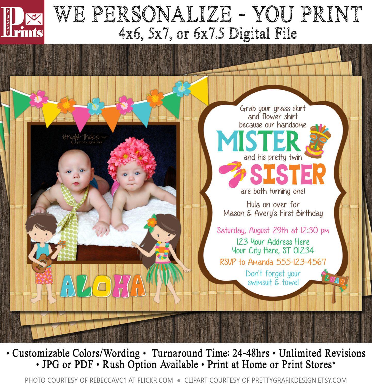 Twins Birthday Invitation - Luau Party Hawaiian Invitation - Boy and ...