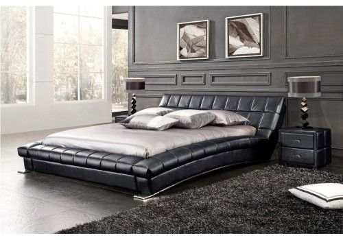 lit design avec tete de lit cuir et sommier balboa loft. Black Bedroom Furniture Sets. Home Design Ideas