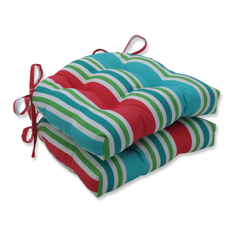 Aruba stripe turqcoral reversible chair pad set of 2