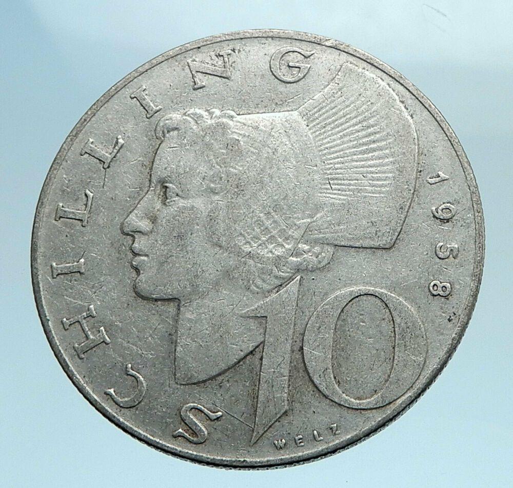 1958 Austria Wachau Woman With Shield 10 Schilling Silver Aus