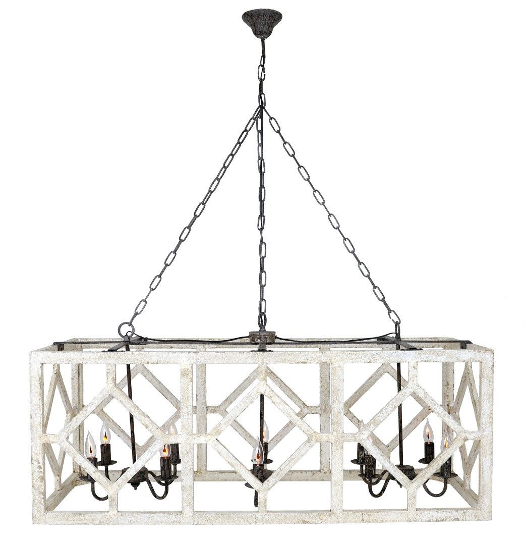 Casual Dining Room Lighting Fixtures: Geometric Rectangle Chandelier (Old White)