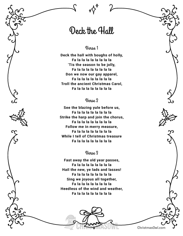 Free Printable Lyrics For Deck The Hall Download Them At Https Christmasowl Com Download Lyr Christmas Lyrics Christmas Carols Lyrics Christmas Songs Lyrics