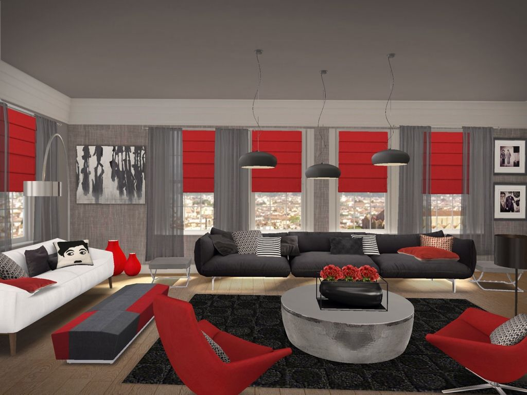 Living Awesome Red Black Room 12