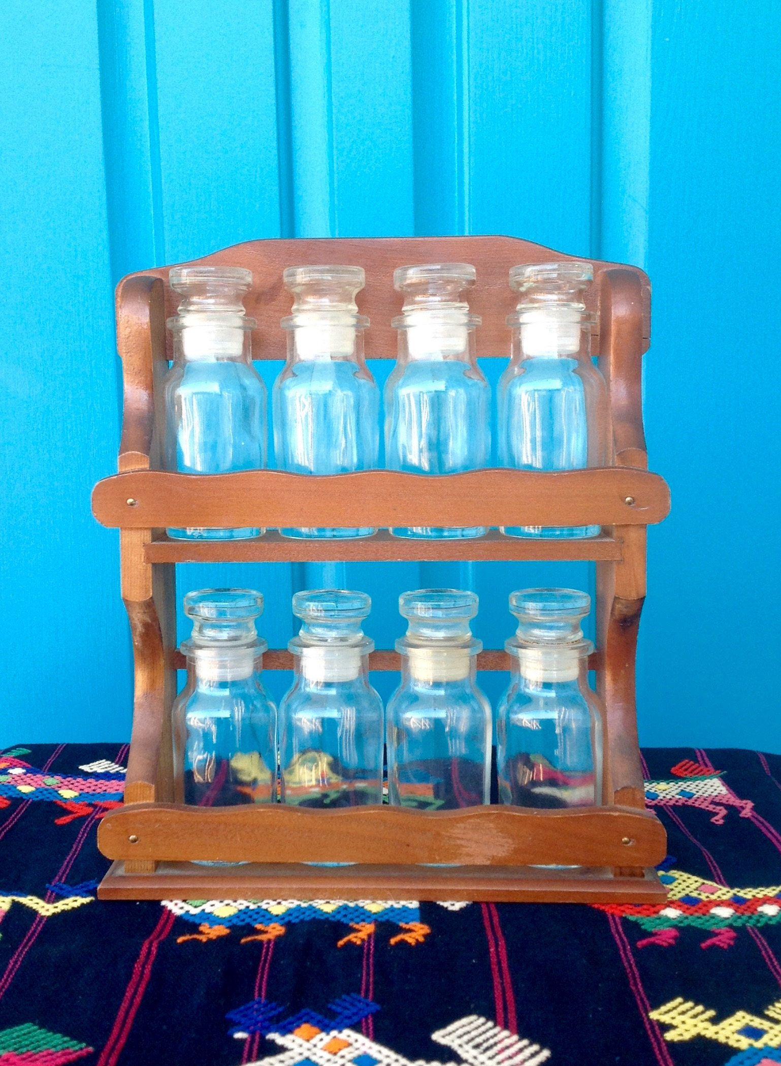 Vintage Farmhouse Wood Spice Rack with Glass Spice Jars-8 Spice Jars ...