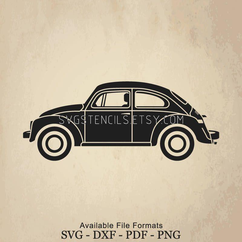 Svg Beetle Volkswagen Car Stencil Silhouette Studio Etsy Svg Beetle Vw Beetles