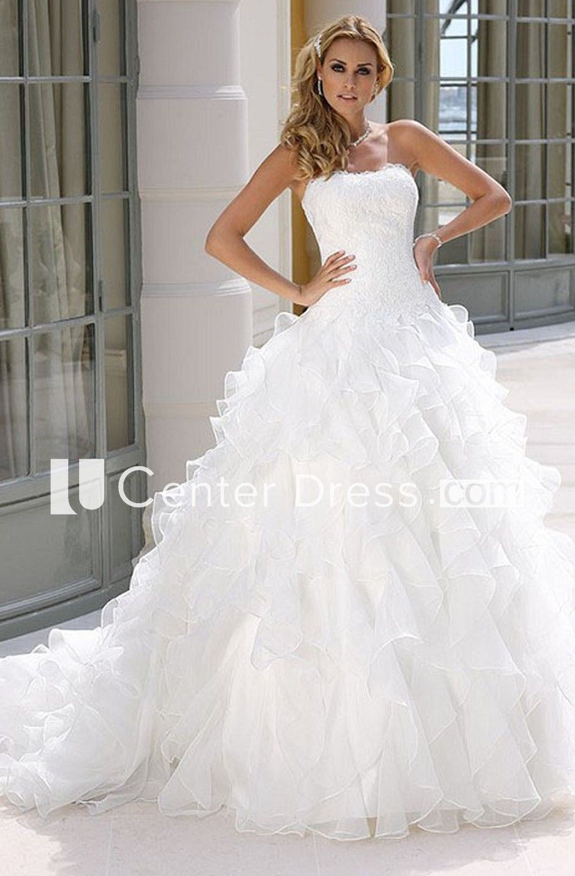 A-Line Ball-Gown Cascading-Ruffle Sleeveless Floor-Length Strapless Organza Wedding Dress With Appliques