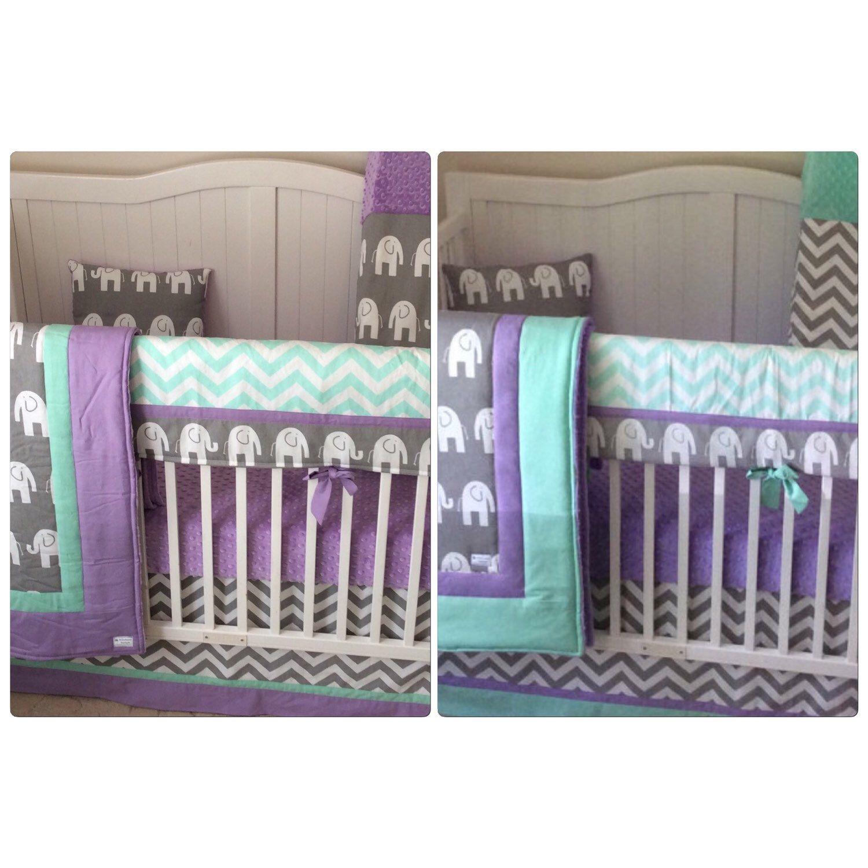 Purple Mint Gray Elephant Crib Bedding Https Www Etsy Com Listing 121995772 Purple Mint And Gra Purple Crib Bedding Purple Nursery Bedding Grey Crib Bedding