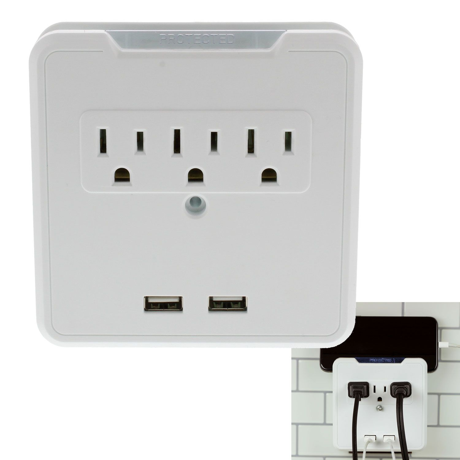 Brightway White 3 Outlet 2 Usb Surge Protector Wall Tap Mount Wall Taps Usb Phone Cradle