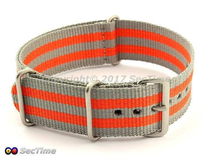Nato Watch Strap in Grey/Orange (5B) colour in 22mm size. UK Seller, Free UK Shipping and Free Spring Bars. 03NG22AB35