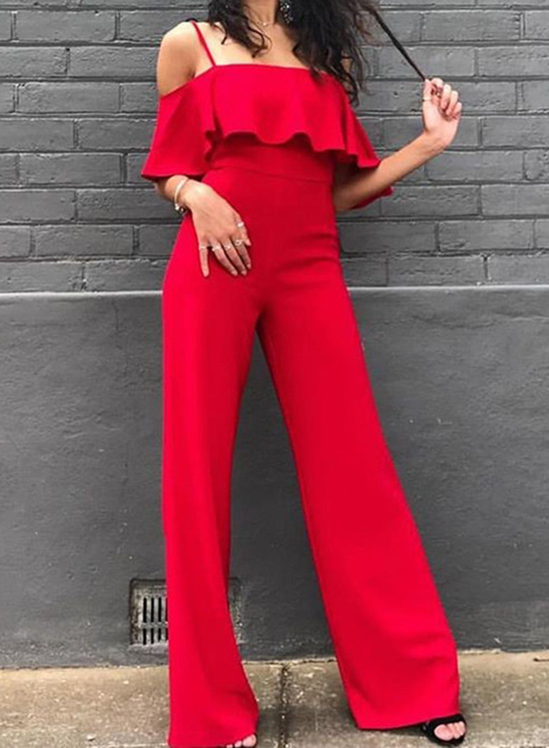 5d53eed58bd4 Red Spaghetti Strap Off Shoulder High Waist Wide Leg Jumpsuit ...
