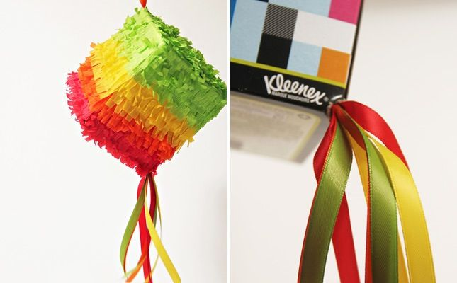 Kleenex Box Piñata: Guess what makes a perfect square piñata? A Kleenex box! (via Studio DIY)