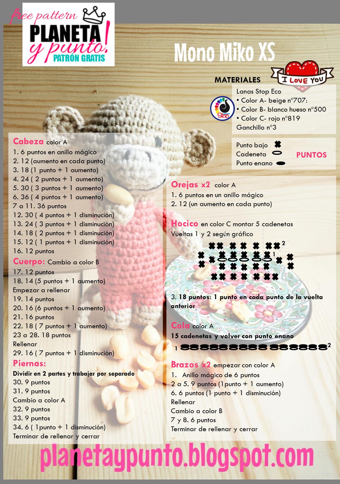 Amigurumi Monkey Patron Gratis : Patron gratis: amigurumi Mono Miko tamano XS-Free pattern ...
