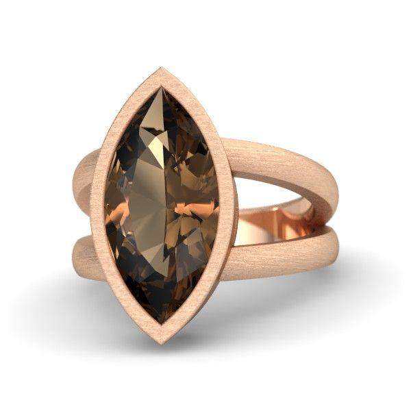 Marquise Smoky Quartz 14K Rose Gold Ring | Ararat Ring | Gemvara