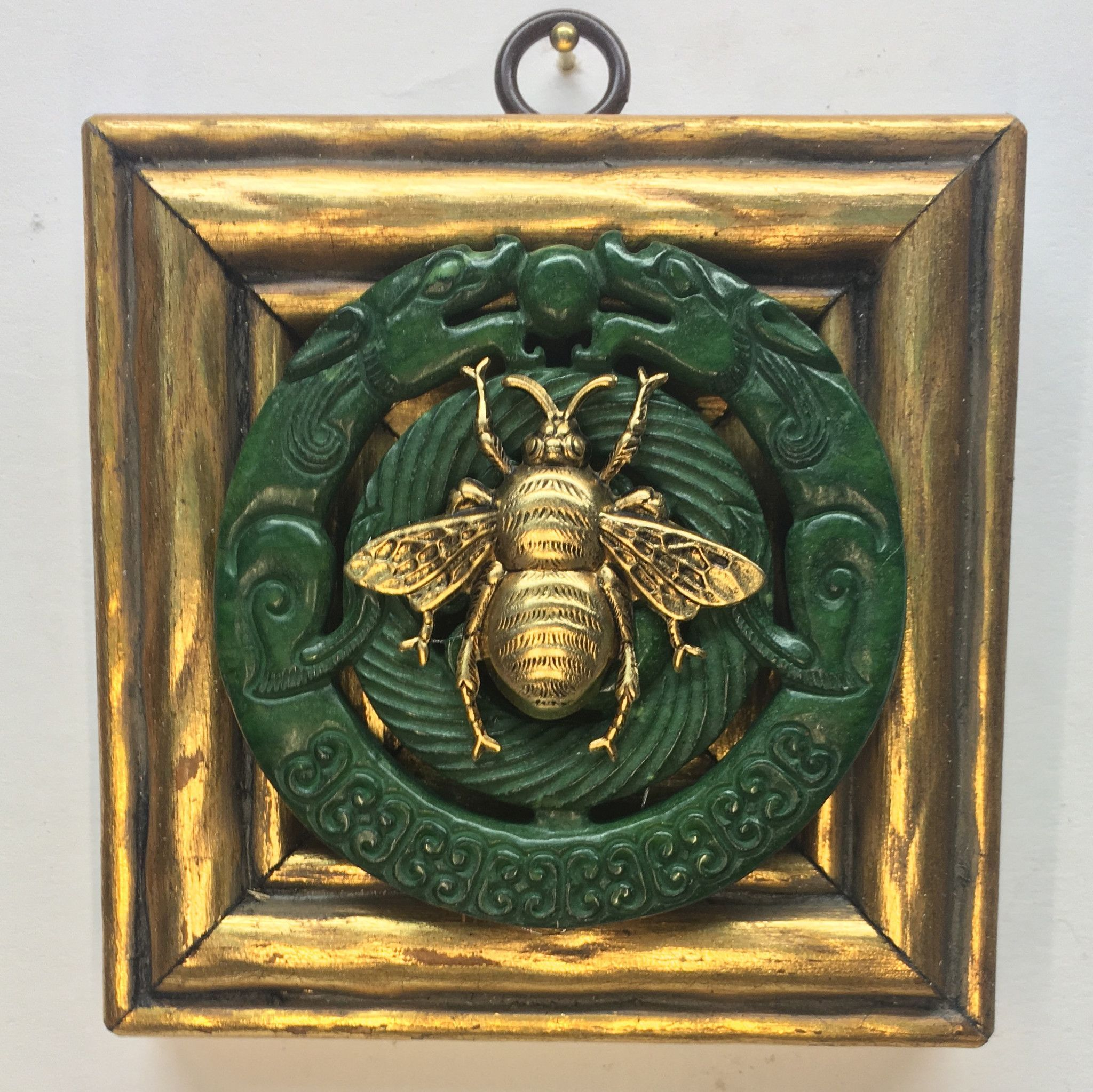 """Gilt Frame with Grande Bee on Jade Piece (3.75"""" wide)"""