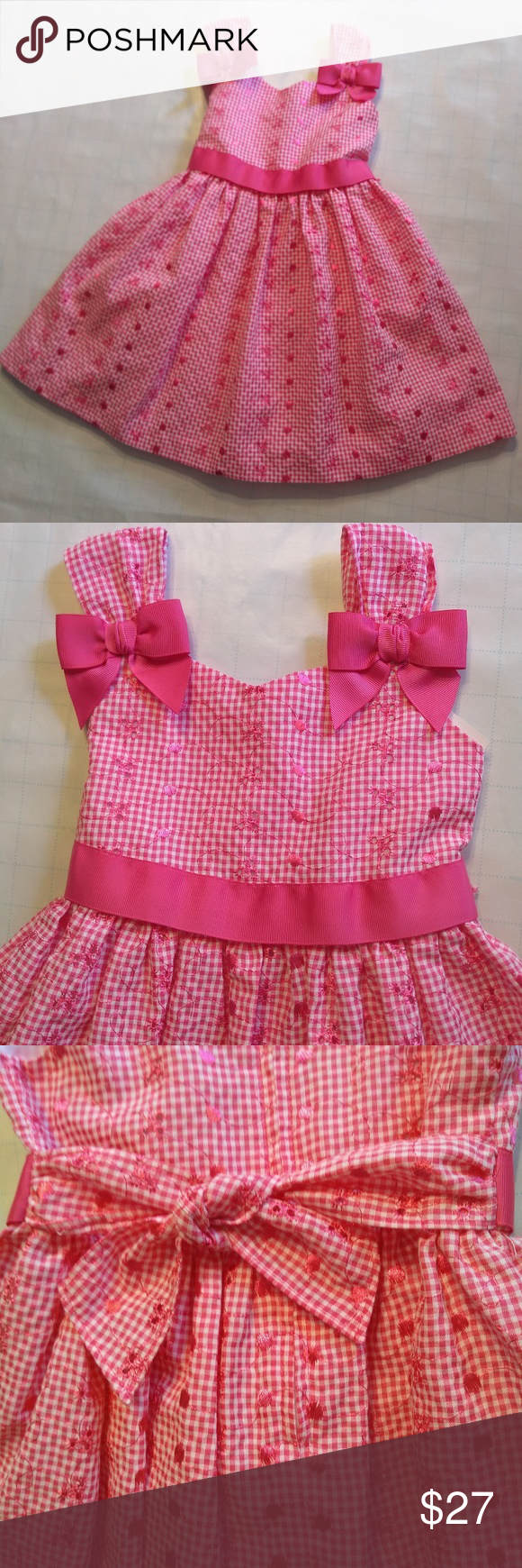 Beautiful Bonnie Jean Pink Dress With Bows 4t Pink And White Checks With Darker Pink Details Small Cutouts Pink Bows And Dress With Bow Clothes Design Dresses [ 1740 x 580 Pixel ]