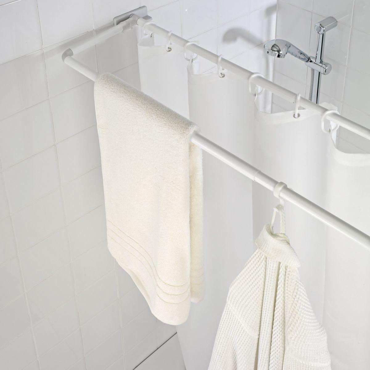 double barre de douche rotative 70 115 cm blanc astuces pinterest. Black Bedroom Furniture Sets. Home Design Ideas