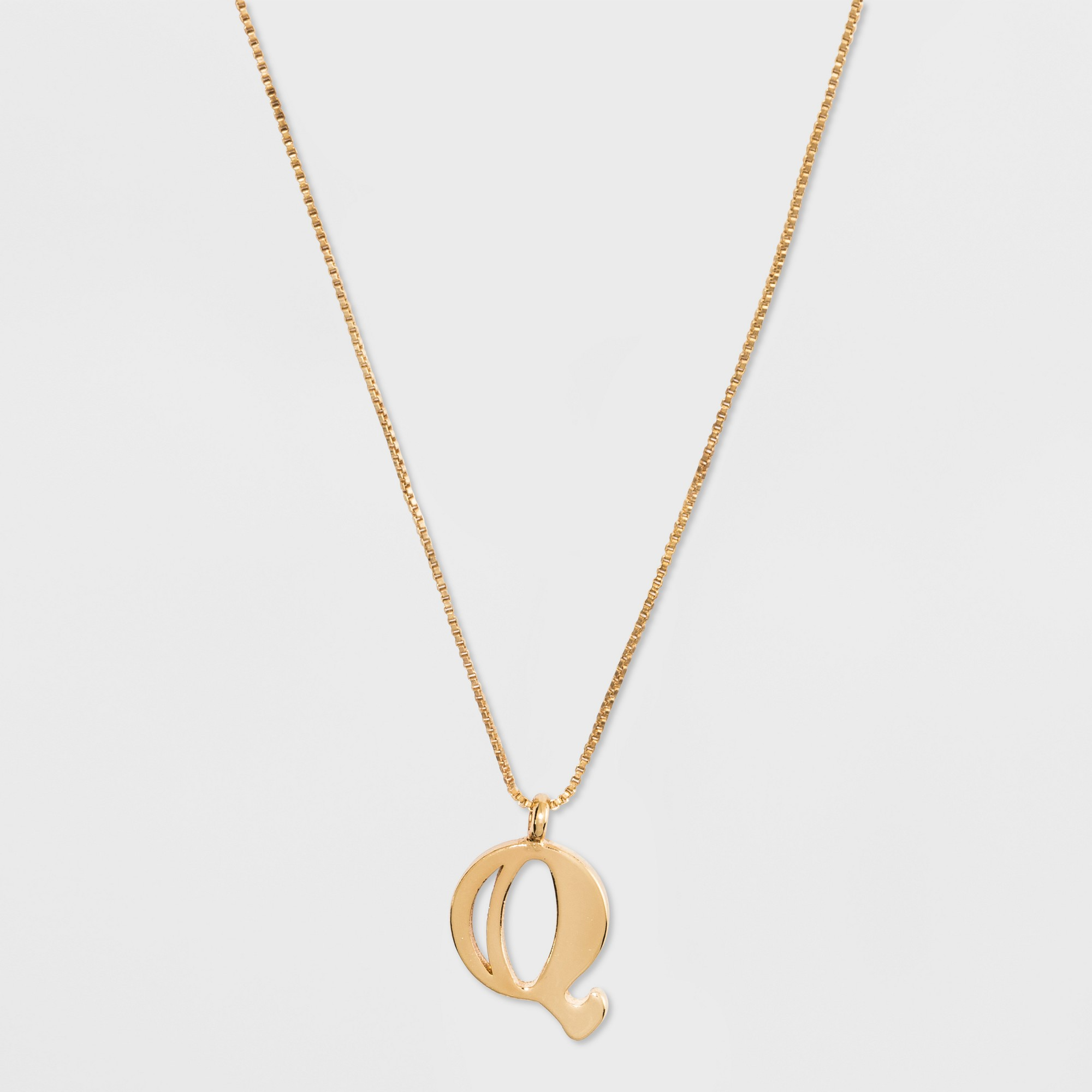 Gold plated initial q pendant necklace a new day gold gold q