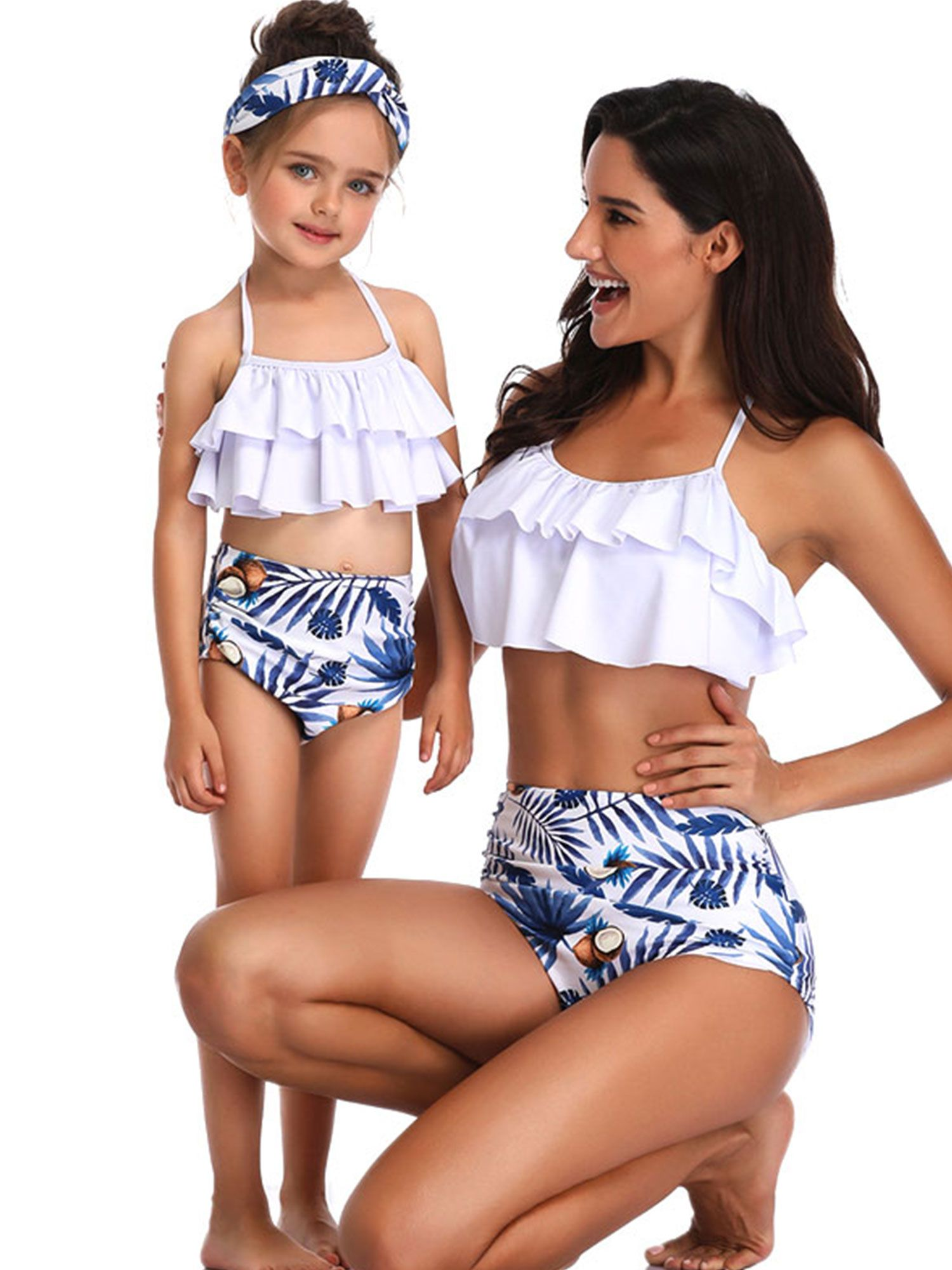 Family Matching Swimwear Mother Daughter Flamingo Bikini Bathing Suit Swimsuit
