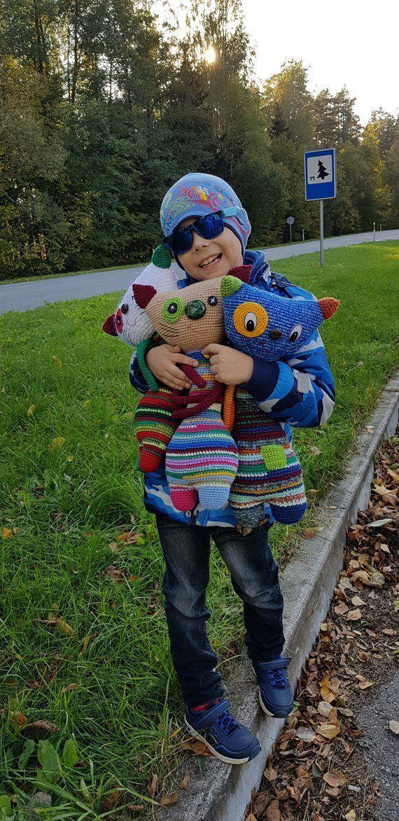 OOAK, crochet cat, large colorful cat toy, soft toy, handmade ami ..., #Ami #cat #colorful #crochet #Handmade #Large #OOAK #soft #Toy