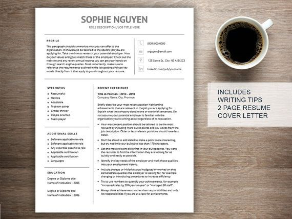 Modern resume template for word, cover letter + references, 2 page