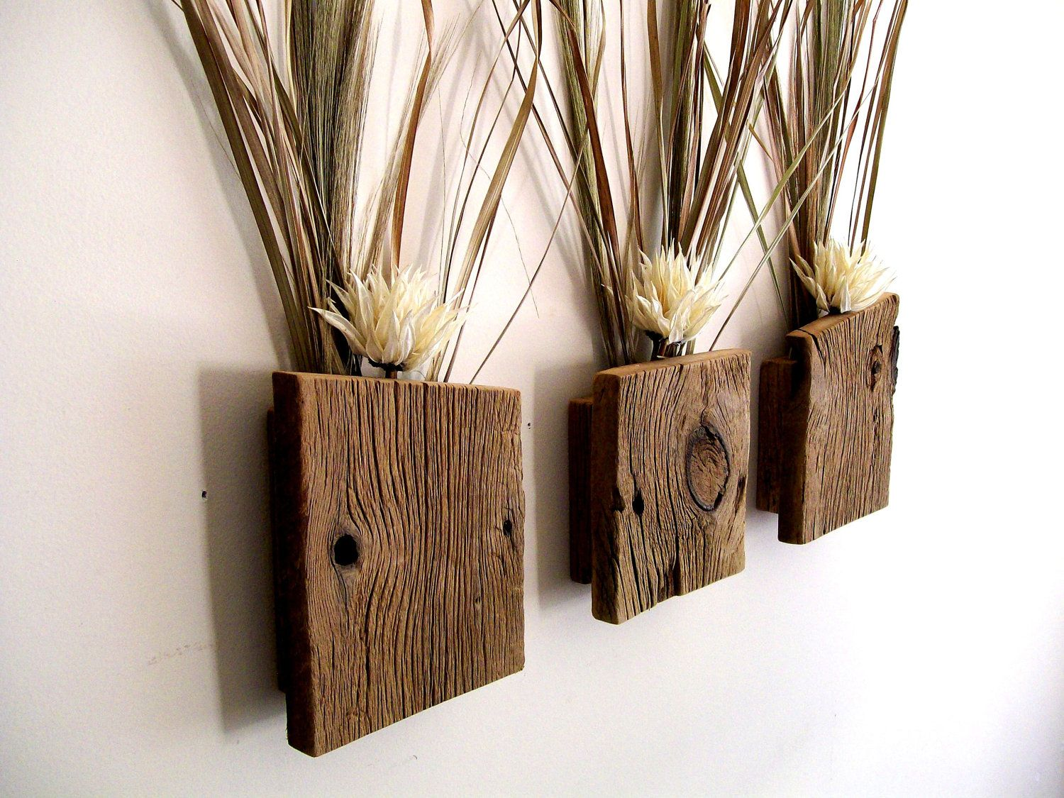 Rustic Wooden Decor Set Of 3 Rustic Reclaimed Barn Wood Wall Vase Flower
