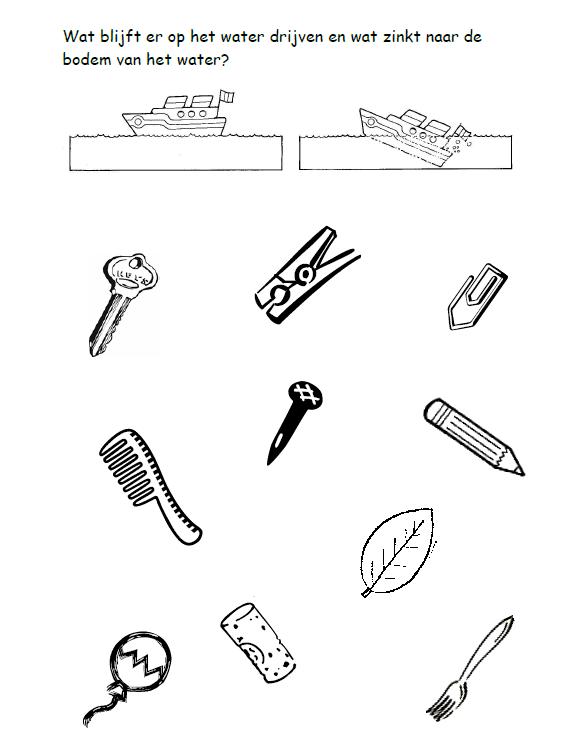Uitzonderlijk Werkblad drijven en zinken | Techniek voor kleuters / Technique &KF07