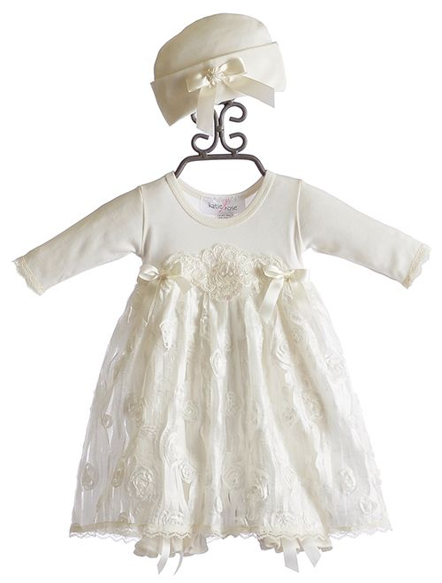 6de3b2fb2eaa Take Home Outfit - Katie Rose Baby Girls Bloomer Dress and Hat Ivory ...