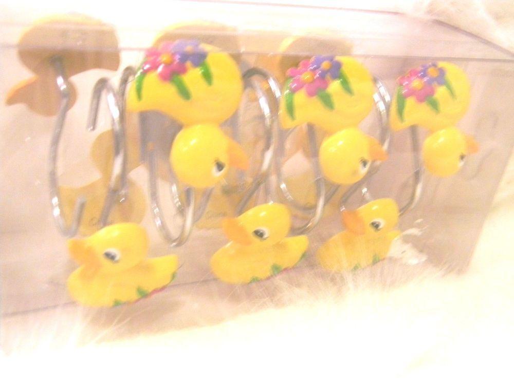 Target Spring Ducks Shower Curtain Hooks Set Of 12 Rubber Ducky Flowers 2005