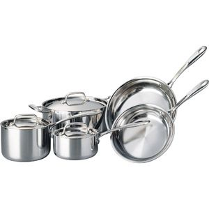 Tramontina 8 Piece Stainless Steel Triply Clad Cookware Set Walmart Com Cookware Set Stainless Steel Cookware Set Dishwasher Safe Cookware