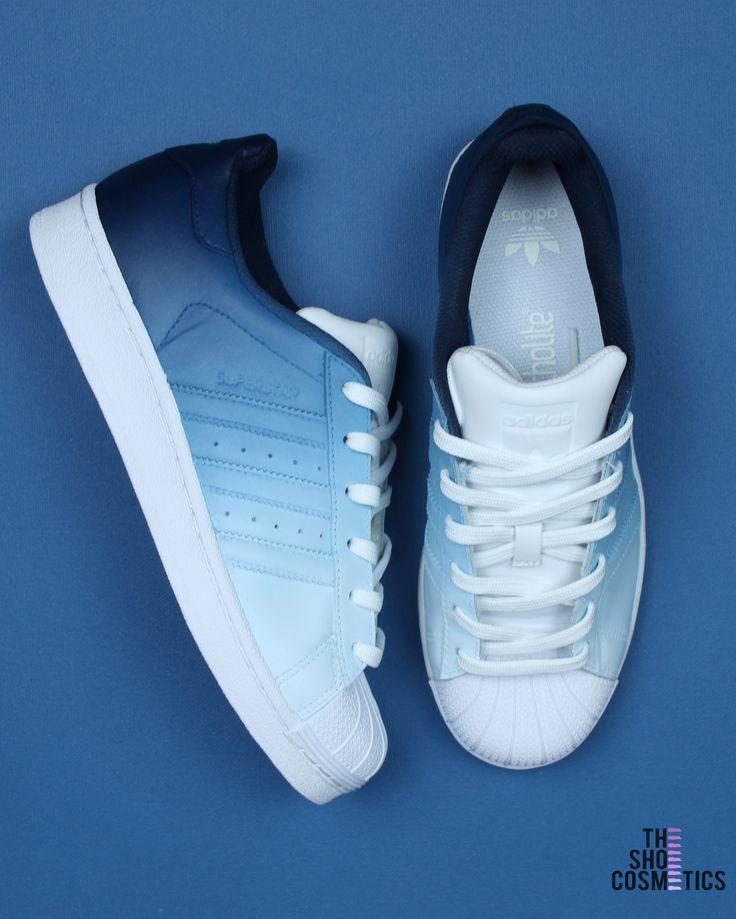 NAVY BLUE OMBRE ADIDAS SUPERSTAR CUSTOM SHOES | Blue adidas shoes ...