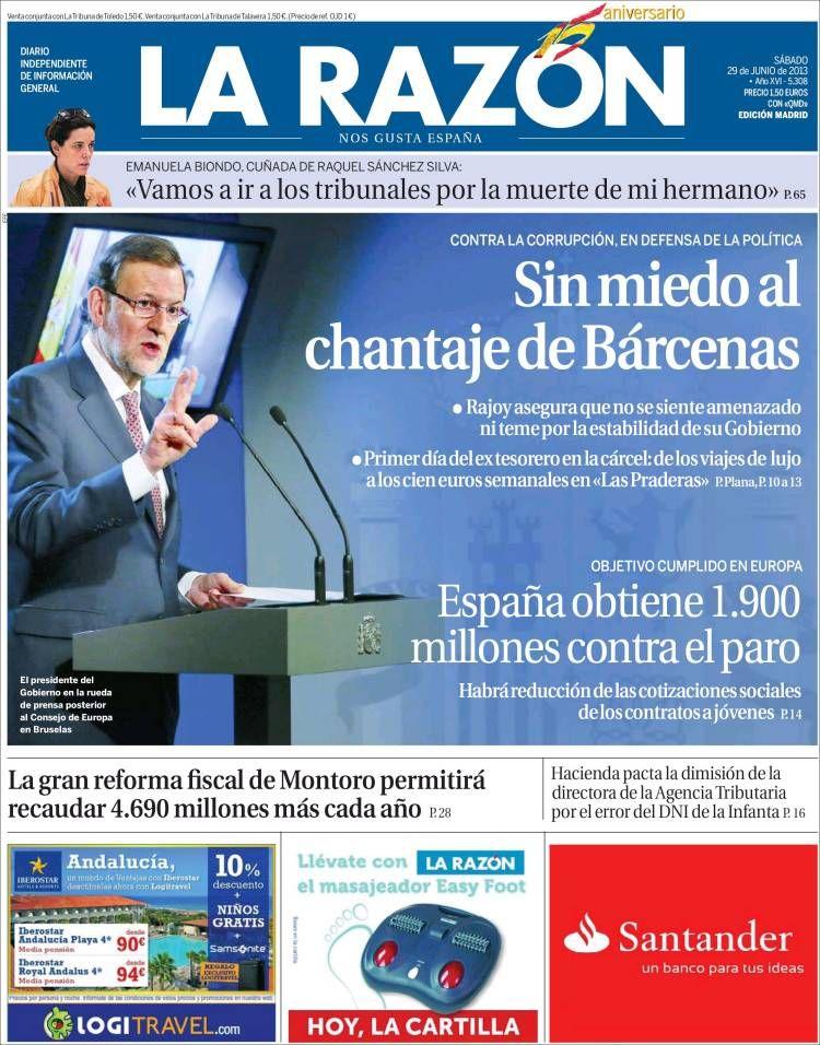 Los Titulares y Portadas de Noticias Destacadas Españolas del 29 de Junio de 2013 del Diario La Razón ¿Que le parecio esta Portada de este Diario Español?