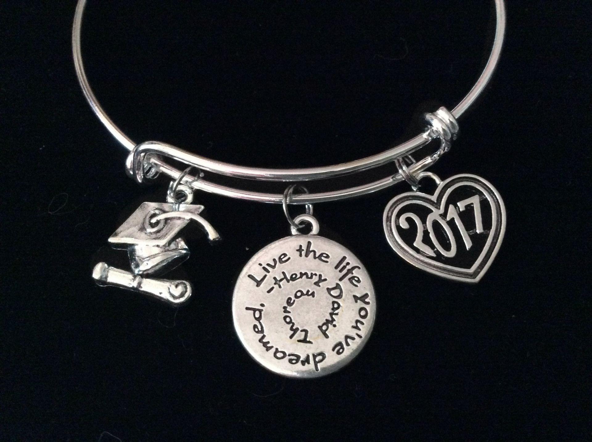 graduation 2017 diploma cap quote expandable silver charm bracelet
